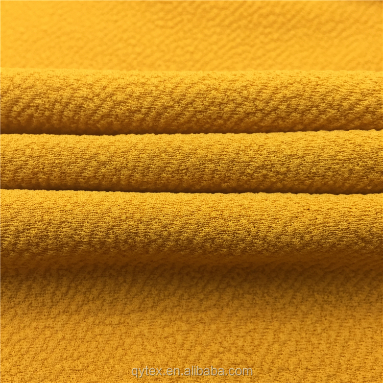 China Factory Wholesale Polyester Stretch Moss Crepe Knit Fabric Textiles Cloth Material for Women Dresses
