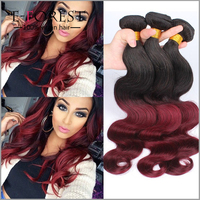 Burgundy Peruvian Hair Weave Red Ombre Human Hair Extension Body Wave Ombre Peruvian Hair Burgundy And Nature Black 1B/ 99J