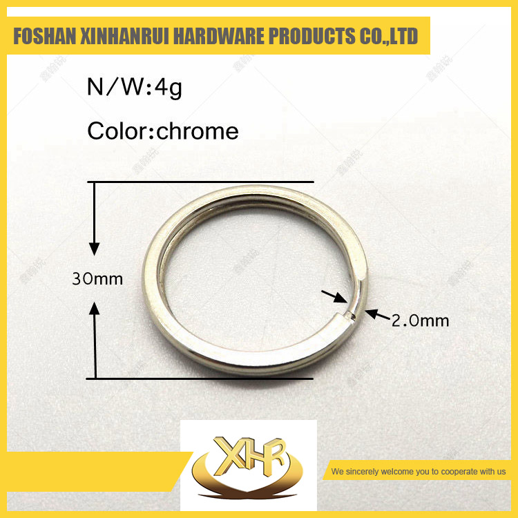 Custom cut out chrome cover metal key ring 30mm ring for gift collection