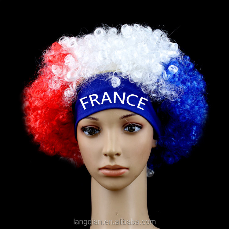 Wholesale France national flag clown world cup football fans wig with logo band