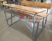 Durable solid wood writing desk and bench, Double desk and chair for Africa