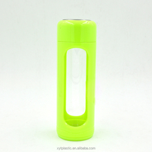 2015 hot sale glass water bottle/ glass water bottle with silicone sleeve /glass drinking bottle