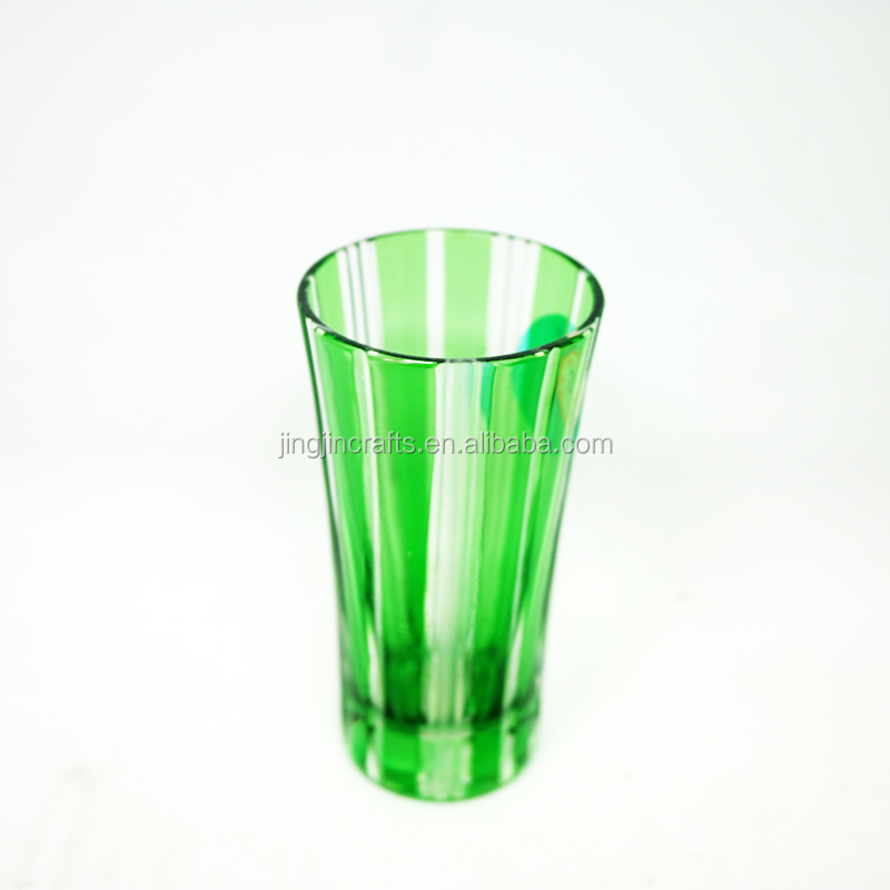 2018 Wholesale Green Colored Engraved Glass Tumbler Tea Cup Wine Cup