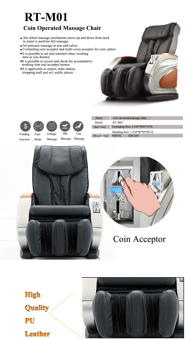 Hot Selling Mini Vending Massage Chair Coin Operated With ICT Coin acceptor