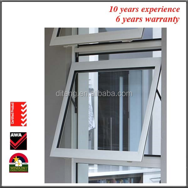 Rainproof French Decorative Top Hung Double Glass Outdoor Powder Coating Aluminium Chain Winder Awning Window