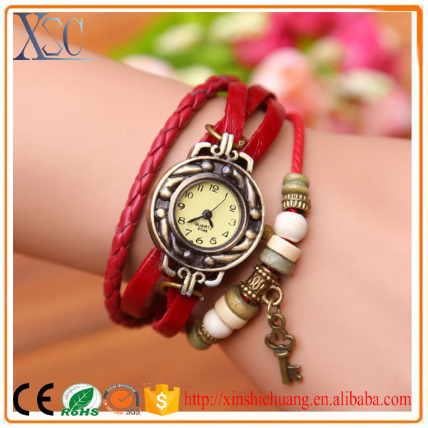 Promotion women vintage led watches ladies fashion watch leather belt watch colorful