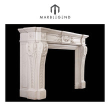 Chinese Factory Indoor Used Free Standing White Marble Angel Fireplace Mantel