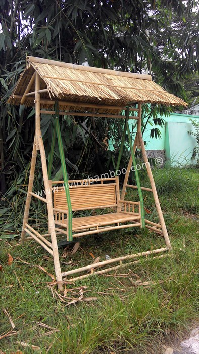 SWING BAMBOO BENCH WITH THATCH ROOF