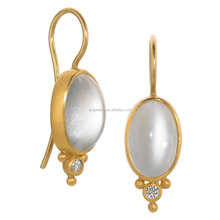 Gold Plated single oval white Cat's Eye Stone Earrings