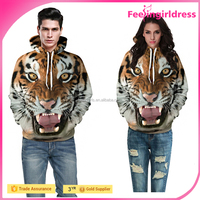 In Stock Europe 3D Tiger Head Printing Fashion Couple Pullover Sweater