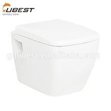High-end square gravity flushing p-trap back ceramic hung bowl sanitary ware toilet to wall