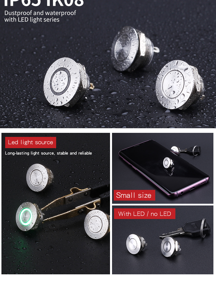 Newest 12mm tact type momentary switch, 12mm waterproof push button switch