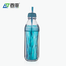 China manufacturer high quality hot sale wholesale best price reusable 650ml double wall plastic bottle with straw