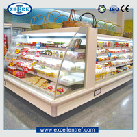 biscuit display cases of a half multideck refrigerated cabinet type used in supermarket
