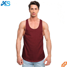 New Fashion Men's curved Hem Longline Cotton Fitness Gym Tank Tops