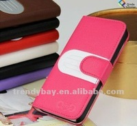 Popular fashion design stand patch wallet leather case for iphone5 with 2 card slots six colors available