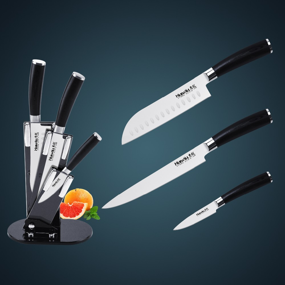 Free shipping Huiwill japanese AUS-8 black stainless steel kitchen knives set 8' chef 6'utility 3.5'utility knife arylic knife