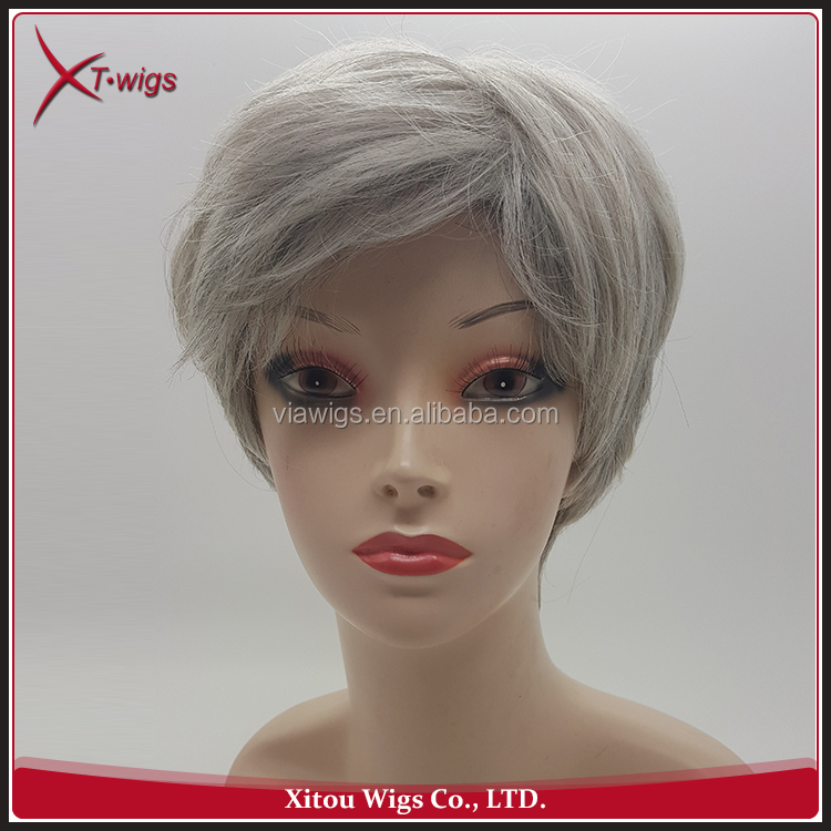 Wholesale No Shedding 8 inch Grey Short Cheap Synthetic Wigs