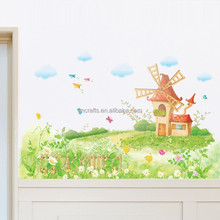 Free Shipping Cartoon Series-Dream Windmill-Kids room/Living room/Nursery/Classroom PVC Removable Wall Stickers AM9023