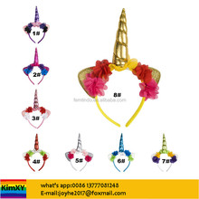 Elegant Unicorn Horn with Chiffon Flowers Hair Hoop Easter Bonus Party For Girls DIY Garments Hair Decor Accessories ALJYSY52