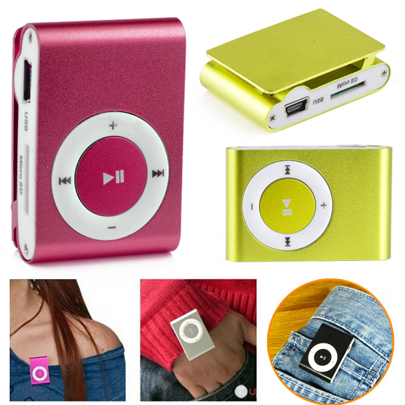 MINI clip Kim Loại USD MP3 Player với Micro TF/SD card Slot với mini MP3
