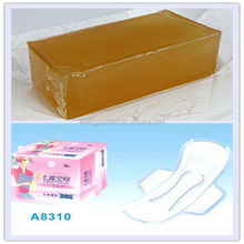 High quality light color hot melt glue adhesive for adult diaper made in China