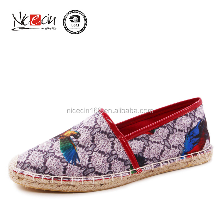 Best selling OEM flower printed girls espadrilles custom,cheap girls varsity shoes