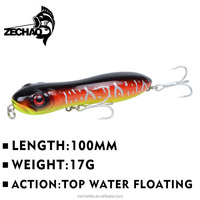 YC3525 100mm 17g Top water floating fishing popper lure