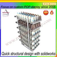 Retail stores high quality metal engine oil bottles display shelf racks