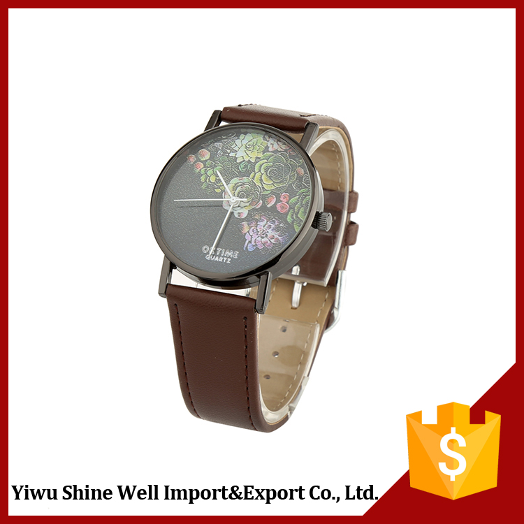 Fashion colorful lady leather wrist watch for women