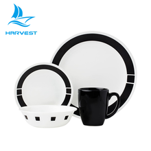 16 Pieces Black & White Ceramic Dinnerware China Modern Bone Dinner Sets