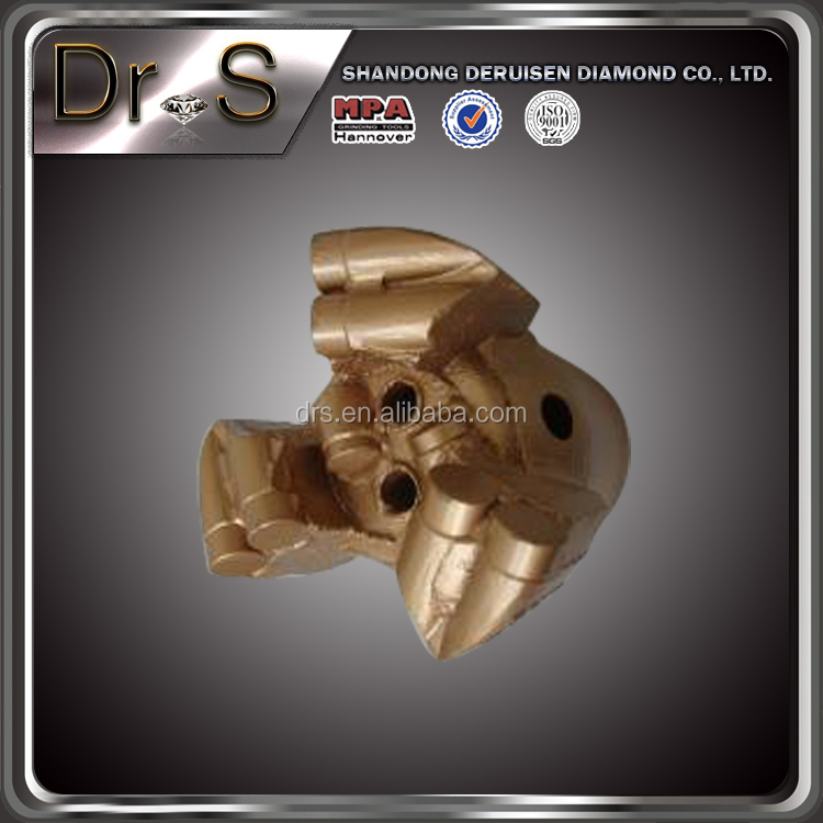 D75mm-5sheets PDC diamond drill bit 3 wings drag drill bit
