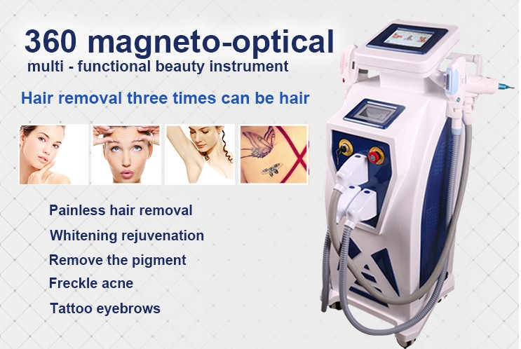 4 in 1 360 Magneto optic hair removal nd yag laser cryo rf machine