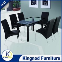 Glass metal tables pu dining chairs PU Dinette Sets