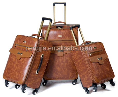 PU luggage carry on Aluminum luggage case with 4 wheels