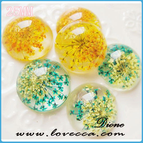 2015 New arrival !!! Mix colors resin real dry flower 25 mm Cabochons
