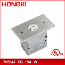 1-gang 15A/20A threaded coin style stainless steel floor mounted electrical outlets with UL