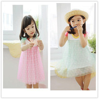 Summer Sleeveless Chiffon Fabric One Piece Girls Party Dresses For Kids