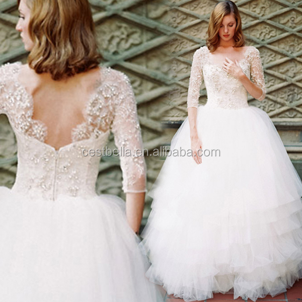 Long sleeve women fashion pretty bridal wedding dresses women ball gown with straps