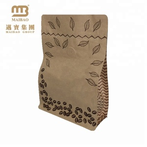 Wholesale Food Packaging Laminated Custom Brown Coffee Bag Paper Kraft With Valve And Ziplock