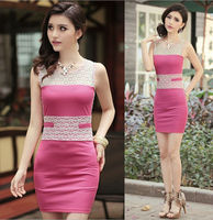 2013 EUROPEAN WOMEN'S NEW FASHION KNIT VOILE LACE DRESS