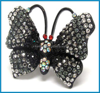 vintage gun metal butterfly shape animal crystals statement stretch ring