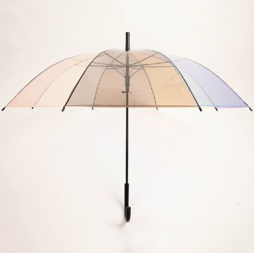 New Fashion Transparent POE Colorful Bubble Dome Straight Umbrella with J Handle