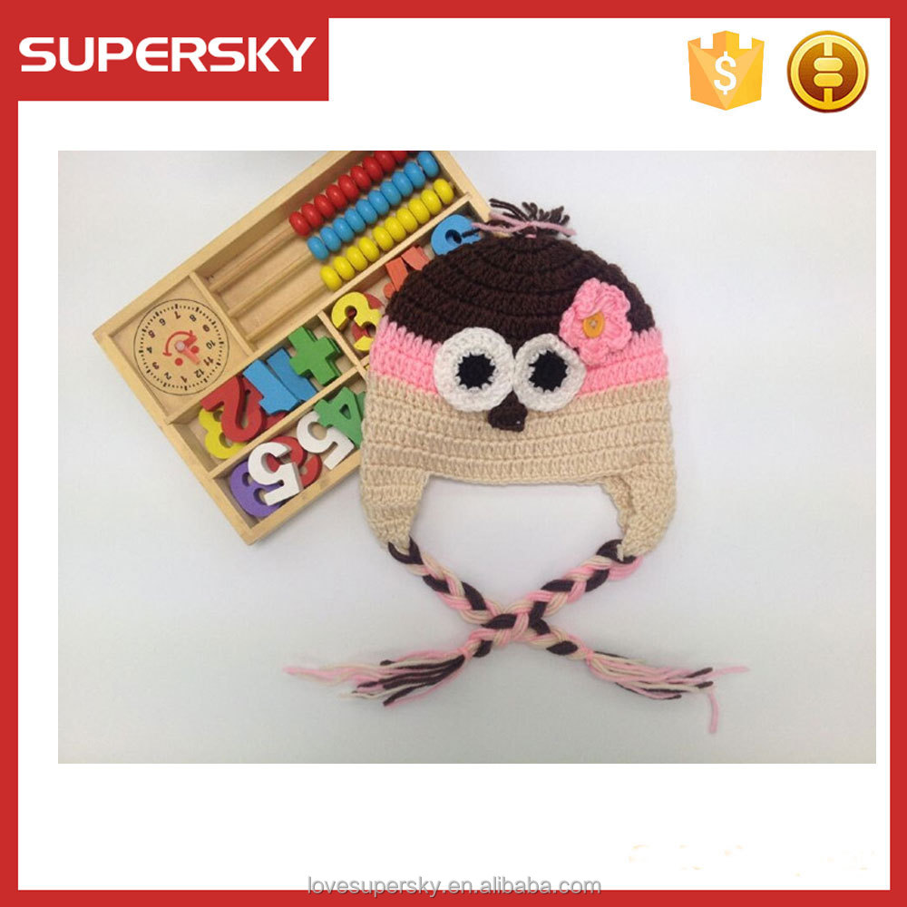 M147 Lovely Unisex Baby Crochet Bird Hat Handmade Animal Knit Beanie Warm Cap braid hat