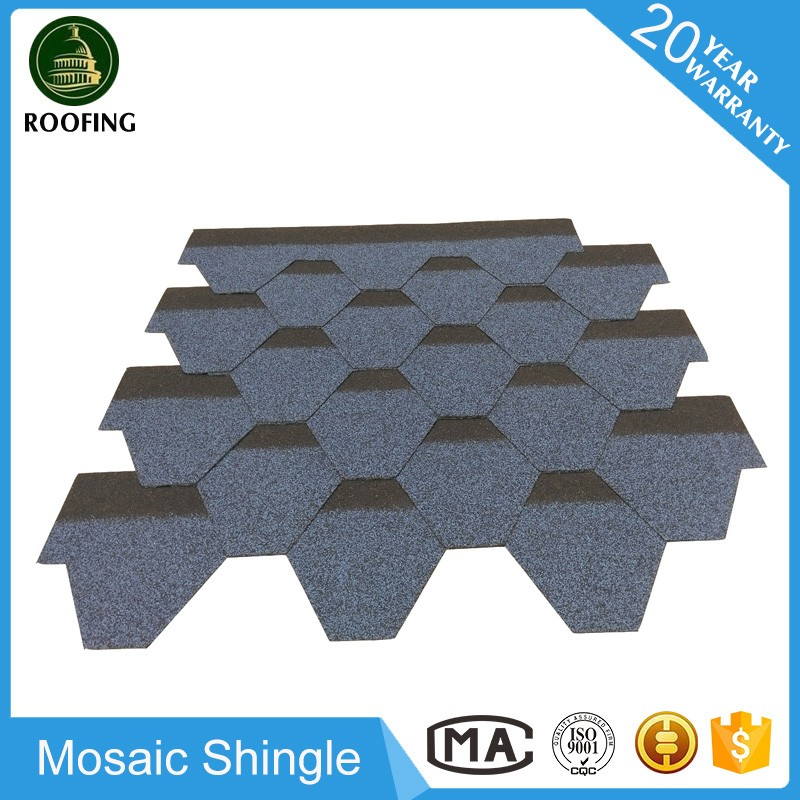 Mosaic bitumen roofing materials,asphalt material roof tiles with great price