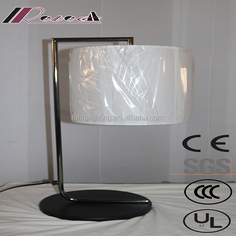 modern hotel off-white fabric shade table lamp with metal base
