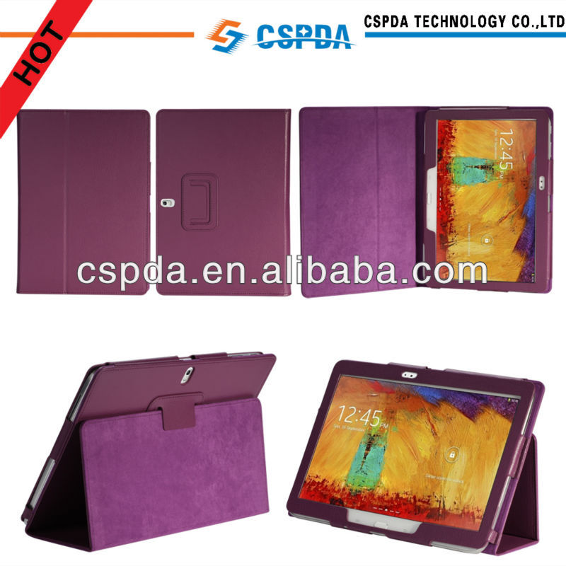 New arrvial purple color back stand leather cover for Samsung Galaxy Note 10.1 2014 Edition