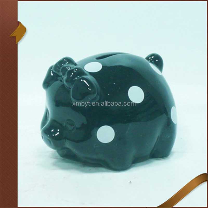 Black White Dot Bow Tie Piggy Bank Ceramic Coin Bank Ceramic Money Box Wholesale