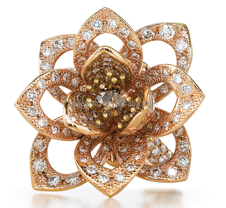 Rose Gold Stone base metal Flower Jewelry Ring