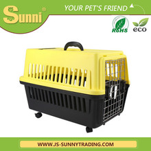 Pet dog cat carrier with wheels plastic portable kennel